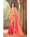 Designer Orange & Red Shaded Saree with Designer Jacket (Immediate Shipping)